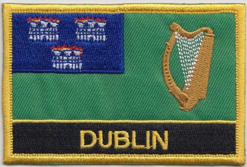 Dublin on Shield Embroidered Sew on patch FREE UK P/&P